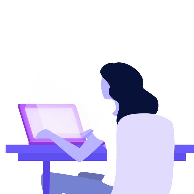 Flat graphic of woman typing